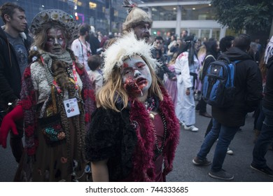 Montreal, Canada, October 28th 2017. A participant of the Zombie Walk parade.