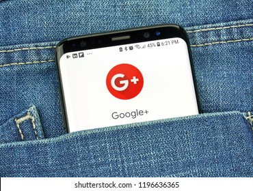 MONTREAL, CANADA - OCTOBER 4, 2018: Google Plus app on s8 screen. Google Plus is a social network. Google is an American technology company which provides a variety of internet services.