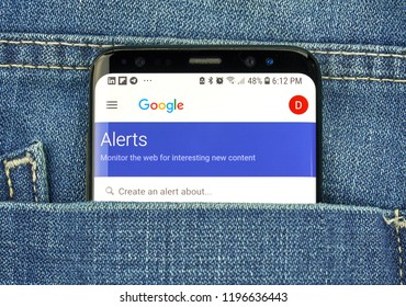 MONTREAL, CANADA - OCTOBER 4, 2018: Google Alerts on s8 screen. Google Alerts is a content change notification service.