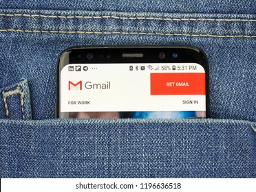 MONTREAL, CANADA - OCTOBER 4, 2018: Google Gmail app on s8 screen. Gmail is a free email service by Google. Google is an American technology company which provides a variety of internet services.