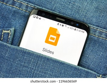 MONTREAL, CANADA - OCTOBER 4, 2018: Google Slides app on s8 screen. Google Slides is an app and presentation editor in the Google Drive and Docs productivity software suite