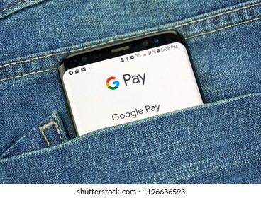 MONTREAL, CANADA - OCTOBER 4, 2018: Google G Pay app on s8 screen. G Pay is a digital wallet and payment tool. Google is an American technology company which provides a variety of internet services.