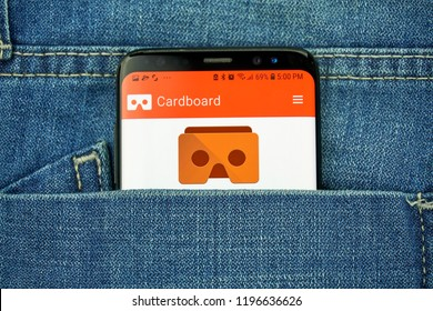 MONTREAL, CANADA - OCTOBER 4, 2018: Google Cardboard app on s8 screen. The app puts VR on your smart phone. Google is an American technology company which provides a variety of internet services.
