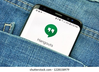 MONTREAL, CANADA - OCTOBER 4, 2018: Google Hangouts, communication platform developed by Google. App on s8 screen. Google is an American technology company which provides variety of internet services