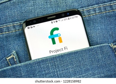MONTREAL, CANADA - OCTOBER 4, 2018: Google Project fi, mobile virtual network logo on s8 screen. Google is an American technology company which provides a variety of internet services.