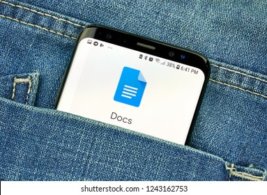 MONTREAL, CANADA - OCTOBER 4, 2018: Google Docs app on s8 screen in a pocket of a blue jeans. Google is an American technology company which provides a variety of internet services.