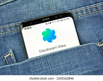 MONTREAL, CANADA - OCTOBER 4, 2018: Google Daydream view on s8 screen. Daydream is a VR platform. Google is an American technology company which provides a variety of internet services