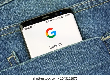MONTREAL, CANADA - OCTOBER 4, 2018: Google Search on s8 screen. Google Search is a web search engine. Google is an American technology company which provides a variety of internet services.