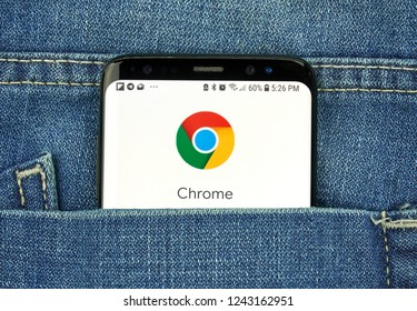 MONTREAL, CANADA - OCTOBER 4, 2018: Google Chrome app on s8 screen. The app is web browser designed for Android. Google is an American technology company which provides a variety of internet services
