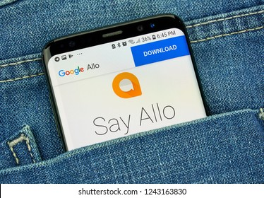 MONTREAL, CANADA - OCTOBER 4, 2018: Google Allo smart messaging app on s8 screen. Google is an American technology company which provides a variety of internet services.