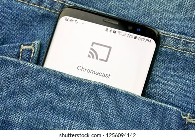 MONTREAL, CANADA - OCTOBER 4, 2018: Google Chromecast logo on s8 screen. Google is an American technology company which provides a variety of internet services.