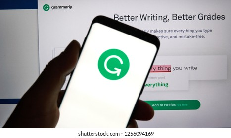 MONTREAL, CANADA - OCTOBER 4, 2018: Grammarly check logo and app on a Samsung s8 screen. Grammarly is a popular English-language writing-enhancement software developed by Grammarly Inc.