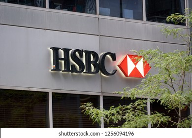 MONTREAL, CANADA - OCTOBER 4, 2018: HSBC bank in Montreal, Canada. HSBC is a British multinational banking and financial services company
