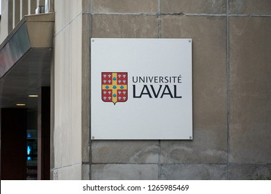 MONTREAL, CANADA - OCTOBER 4, 2018: Laval University building and logo in Montreal. Universite Laval is a French-language university in Quebec, Canada.