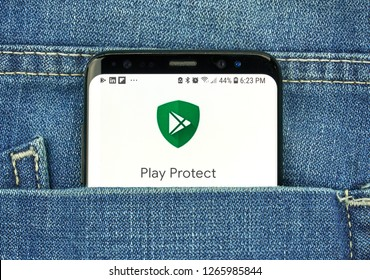 MONTREAL, CANADA - OCTOBER 4, 2018: Google Play Protect on s8 screen. Google is an American technology company which provides a variety of internet services.
