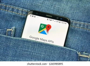 MONTREAL, CANADA - OCTOBER 4, 2018: Google Maps Api, maps platform on s8 screen. Google is an American technology company which provides a variety of internet services.