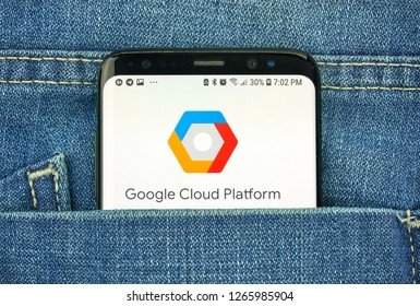 MONTREAL, CANADA - OCTOBER 4, 2018: Google Cloud Platform app on s8 screen. Google is an American technology company which provides a variety of internet services.