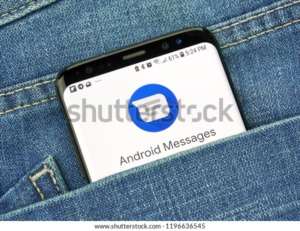 MONTREAL, CANADA - OCTOBER 4, 2018: Google Android Messages app on s8 screen. The app is Android's official app for texting SMS, MMS, RCS