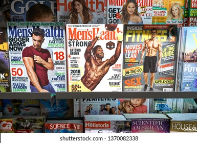 MONTREAL, CANADA - OCTOBER 9, 2018: Stack of mens magazines. The magazins related to sport, fitness health