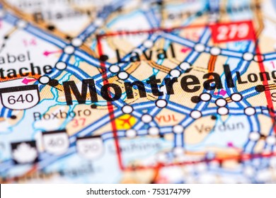 Montreal. Canada on a map.