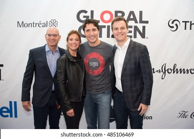 MONTREAL, CANADA - SEP 17 2016 - Prime Minister Justin Trudeau walks the blue carpet at the Global Citizen Concert at the Bell Center, a concert to end AIDS, Tuberculosis and Malaria.