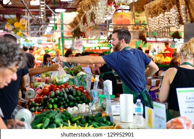 MONTREAL, CANADA - SEP 8: Jean-Talon Market interior on September 8, 2012 in Montreal, Canada. Montreal is the largest in Quebec, the second-largest in Canada and the 15th-largest in North America.