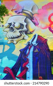 MONTREAL CANADA SEPT 01:Street art Montreal dead man on sept 01 2014 in Montreal Canada. Montreal. is the perfect place to walk in the back alley and abandoned areas, looking for street art