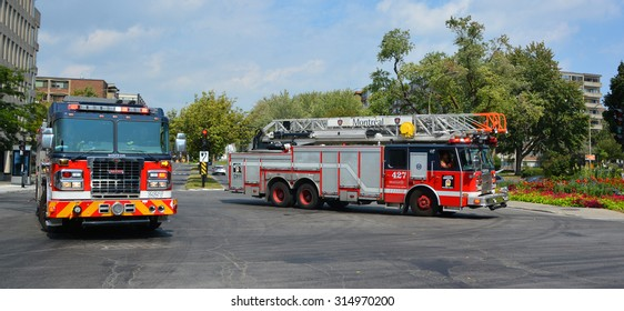 MONTREAL CANADA SEPTEMBER 06 2015: Fire engine service de securite incendie de Montreal the SIM is the 7th largest fire department in North America.