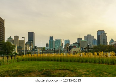 Montreal, Canada - September 09, 2018: View of the Champ-de-Mars park, and the downtown, in Montreal, Quebec, Canada