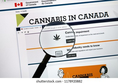 MONTREAL, CANADA - SEPTEMBER 13, 2018: Official web page on Government of Canada site about cannabis legalization. Marijuana to be legal in Canada starting October 17, 2018