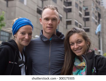 MONTREAL, CANADA, SEPTEMBER 14 2013 -Christopher FROOME with GPCQM staff members upon arriving in Montreal for second leg of UCI-sanctioned Pro Tour event, september 14 2013