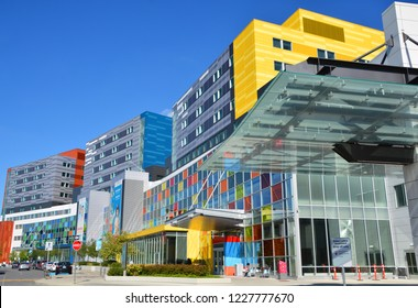 MONTREAL CANADA SEPTEMBER 14 2016: New McGill University Health Centre (MUHC) and shriners hospital a network of teaching and community hospitals