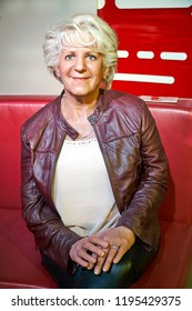 MONTREAL, CANADA - SEPTEMBER 23, 2018: Denise Bombardier, journalist, novelist, essayist, producer and media personality Wax museum Grevin in Montreal Quebec Canada