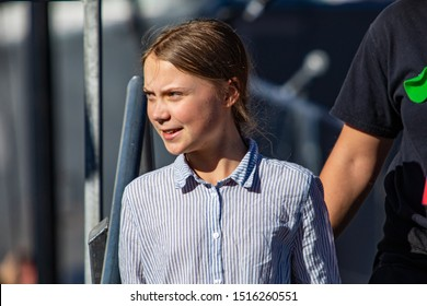 MONTREAL, CANADA - SEPTEMBER 27 2019: 16 years old Swedish activist Greta Thunberg giving a speech in front of 500 000 people during Montreal's climate demonstration.