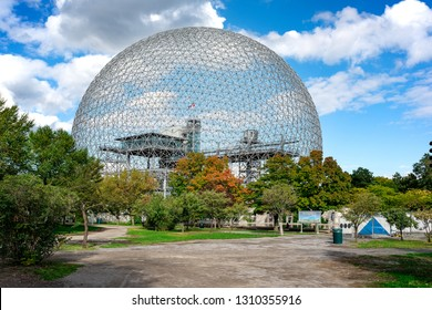 Montreal, Canada - September 28 2018 :  view of Montreal Biosphere environment museum at Parc Jean-Drapeau in Montreal, Quebec, Canada. - Image