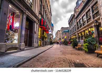 Montreal, Canada - September 5 2017: Old Port (Vieux Port de Montreal) streets and shops.
