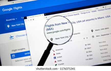 MONTREAL, CANADA - SEPTEMBER 8, 2018: Google Flights page. Google Flights is an online flight booking search service which facilitates the purchase of airline tickets through third party suppliers