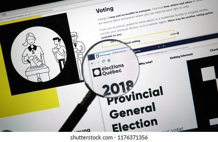 MONTREAL, CANADA - SEPTEMBER 8, 2018: Quebect elections official site. The 42nd Quebec general election is scheduled for October 1, 2018 to elect members to the National Assembly of Quebec