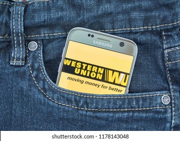 MONTREAL, CANADA - SEPTEMBER 8, 2018: Western Union mobile app. The Western Union Company is an American financial services and communications company. Its headquarters is in Meridian, Colorado