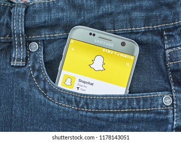 MONTREAL, CANADA - SEPTEMBER 8, 2018: Snapchat mobile app. Snapchat is a multimedia messaging app used globally, created by Evan Spiegel, Bobby Murphy, and Reggie Brown