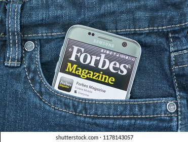 MONTREAL, CANADA - SEPTEMBER 8, 2018: Forbes mobile app. Forbes is an American family-controlled business magazine. Published bi-weekly, it features original articles on finance, industry, investing