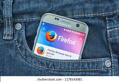 MONTREAL, CANADA - SEPTEMBER 8, 2018: Firefox mobile browser. Mozilla Firefox is a free and open-source web browser developed by Mozilla Foundation and its subsidiary, Mozilla Corporation.