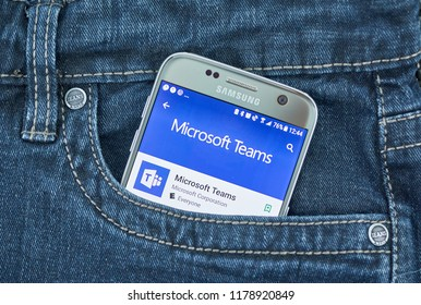 MONTREAL, CANADA - SEPTEMBER 8, 2018: Microsoft Teams app. Teams is a platform that combines workplace chat, meetings, notes, and attachments. The service integrates with the company's Office 365