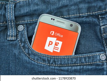 MONTREAL, CANADA - SEPTEMBER 8, 2018: Microsoft Powerpoint mobile app. Microsoft PowerPoint is a presentation program, created by Robert Gaskins and Dennis Austin at software company Forethought Inc