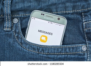 MONTREAL, CANADA - SEPTEMBER 8, 2018: Android Messages mobile app. Android Messages, Android's official app for texting SMS, MMS and chat RCS