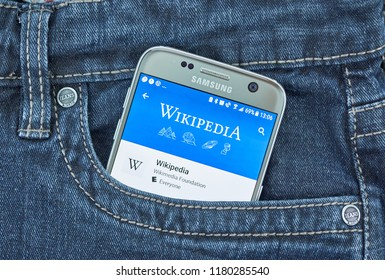 MONTREAL, CANADA - SEPTEMBER 8, 2018: Wikipedia mobile app. Wikipedia is a multilingual, web-based, free encyclopedia based on a model of openly editable content.