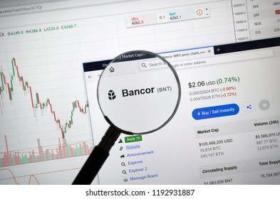 MONTREAL, CANADA - SEPTEMBER 8, 2018: Bancor altcoin site under magnifying glass. Blockchain is a growing list of records which are linked using cryptography.