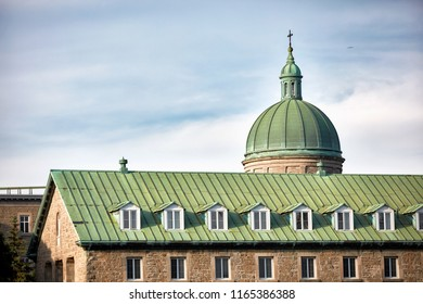 Montreal, Canada-June, 2018. The dome of historical Hotel-Dieu du Montreal hospital in Quebec, Canada.