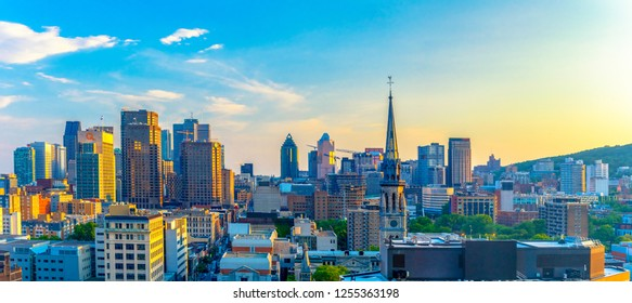Montreal, Canada-May 9, 2018: Urban skyline of the famous Canadian city in the province of Quebec. Aerial view from a downtown hotel. The area is a tourist attraction.