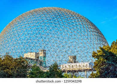 Montreal, Canada-September 6, 2018: The Biosphere. The famous building is a tourist attraction and a famous place in the Canadian city